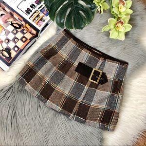 Free People 90s Plaid Pleated Wool Mini Skirt Sz 0